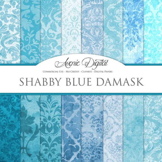 Shabby Chic Blue Damask Digital Paper Scrapbooking Backgrounds Turquoise Patterns For Commercial Use Grungy Wallpaper Instant Download By Aveniedigital Catch My Party