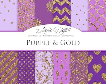 Purple and Gold Digital Paper. Scrapbook Backgrounds, Lavender patterns for Commercial Use. Gold Glitter digital paper.Printable Download.