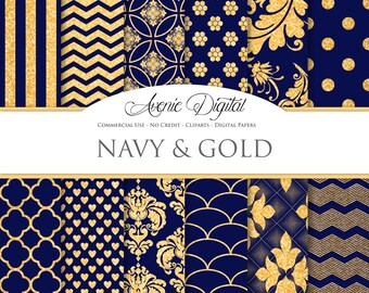 Gold and Navy Digital Paper. Scrapbooking Backgrounds, Navy Blue patterns for Commercial Use. Gold Glitter digital paper. Printable Download