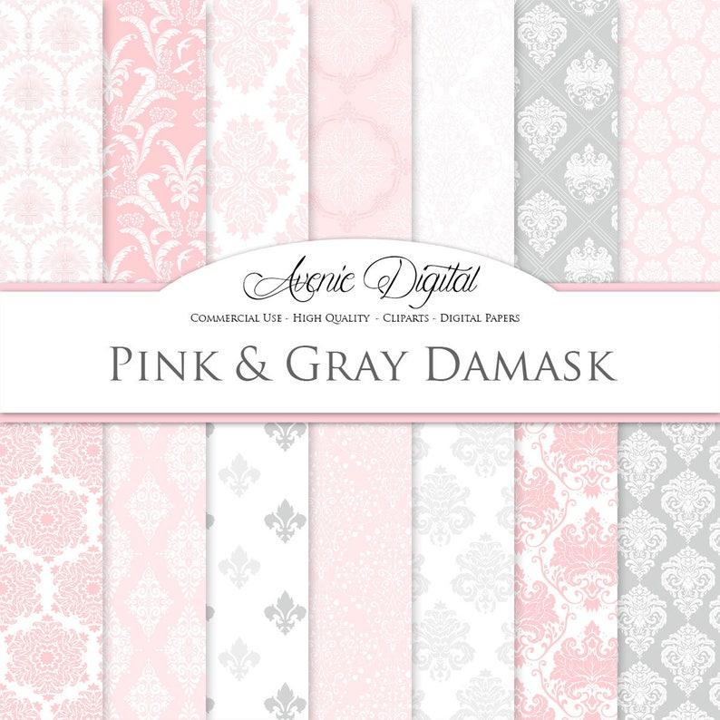 28 Rosa E Grigio Digitale Carta Di Damasco Sfondi Gratis Di Scrapbooking Modelli Di Rosa Luce Per Uso Commerciale Damascato Clipart Download