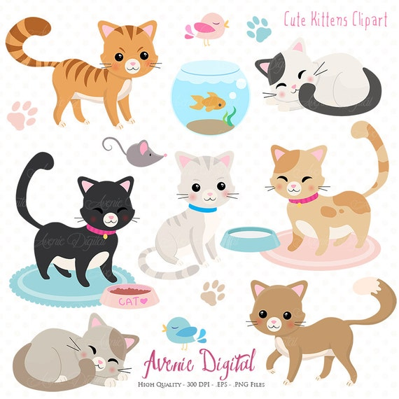 Cute Cat Clipart. Scrapbooking printables Vector .eps and ...