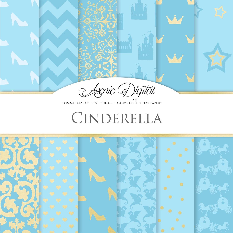 Cinderella Digital Paper Scrapbooking Backgrounds Princess