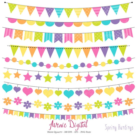 Rainbow banners Vector .eps Birthday flag banner Bunting Banner Clipart Scrapbook printable Colorful Party Clip art