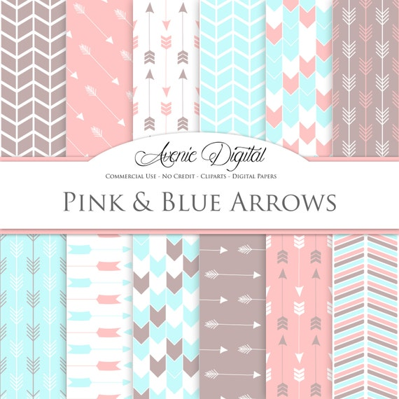 Pink And Blue Arrows Digital Paper Scrapbook Backgrounds Pastel Tribal Patterns For Commercial Use Arrow Chevron Digital Papers By Aveniedigital Catch My Party