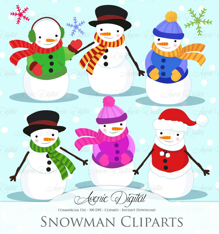 Christmas Snowman Clipart Scrapbook Ausdrucke ClipArt Urlaub | Etsy