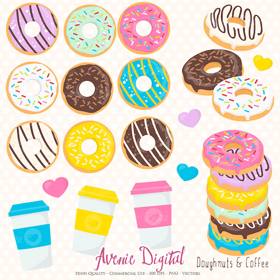 donut and coffee clipart scrapbook printables doughnuts clip art