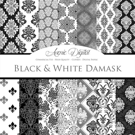 28 black and white damask digital paper scrapbook backgrounds