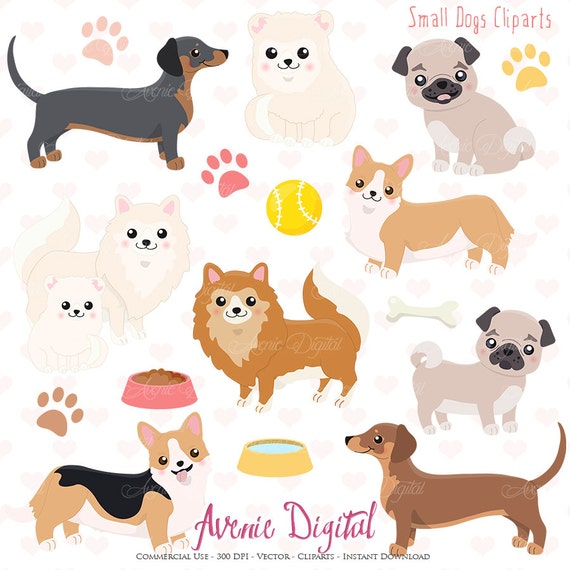 Cute Dog Clipart Scrapbooking Printables Vector Eps And Png Etsy