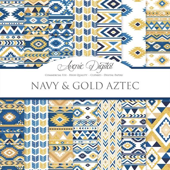 Glitter Blu E Oro Azteco Carta Digitale Sfondi Gratis Di Etsy