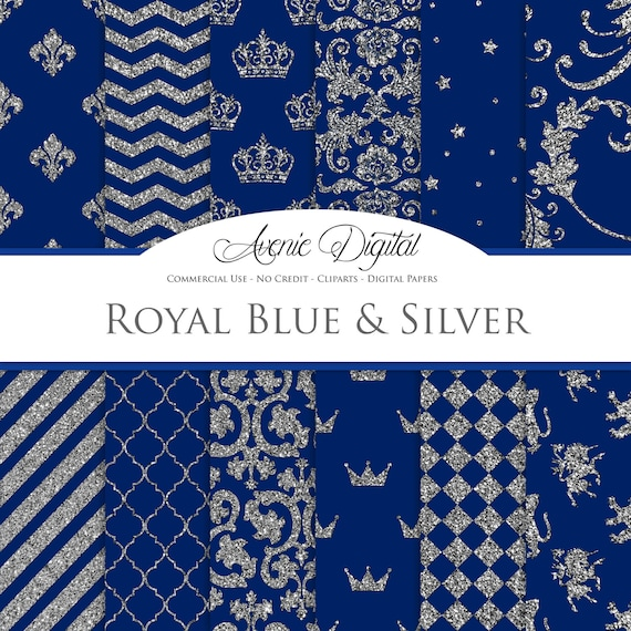 Royal Blue And Silver Digital Paper Scrapbook Backgrounds