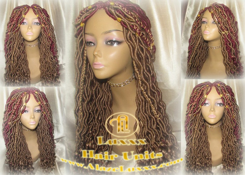 Boho Goddess Faux Locs Wig Gold Honey Blonde 27 Marley Hair Etsy