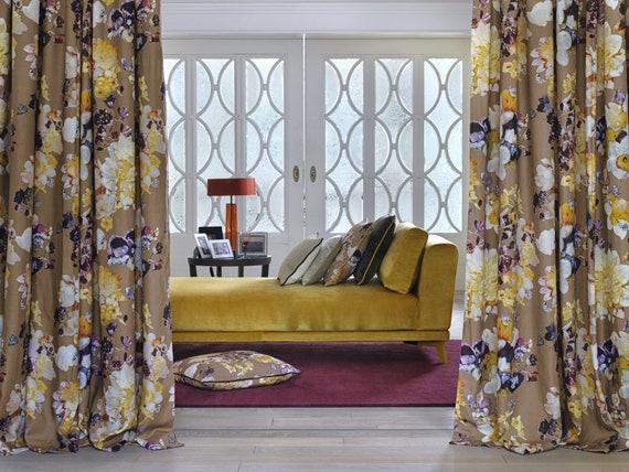 CHARDONNE *Meterware fabric curtain fabric tissu glamorous embroidered taft soleil bleu jab
