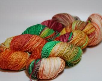 Fruity on Stellar Sock superwash merino nylon Hand Dyed Yarn