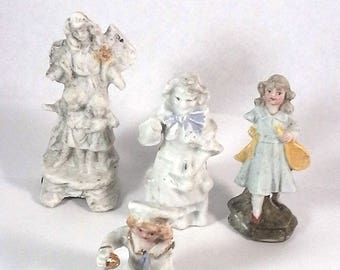 "Lot antique damaged german porcelain figures, project,arts and crafts, collectors, glazed,porcelain figures,1.7"" -3.5"""