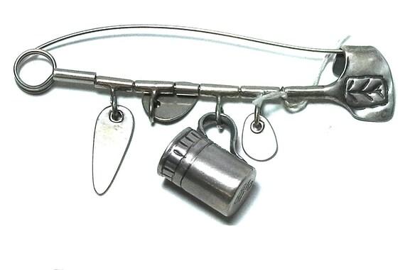 Kibbutz Silver Safety Pin brooch, vintage Handmade