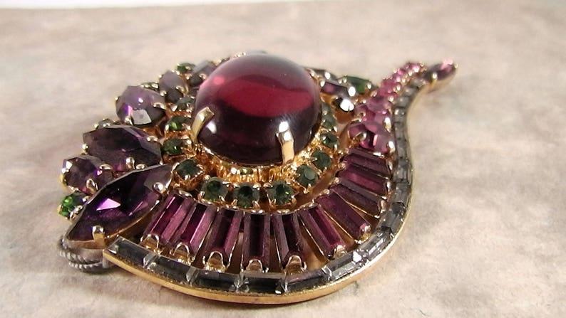 Vintage Purple brooch Luxury LaFemme brooch Designer Brooch LaFemme retro design brooch Purple
