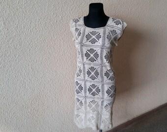 Light brown/ cream/ beige dress handmade crocheted, the size S/M; 38