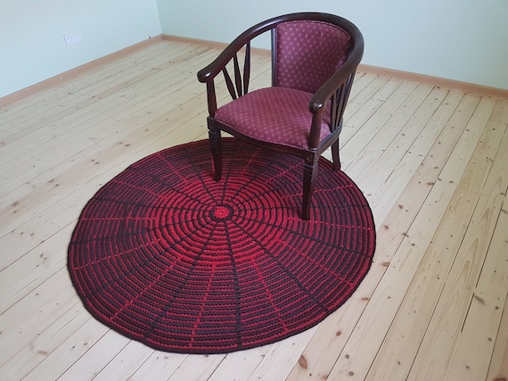 Tapis rond multicolore : marron / chocolat, rouge crocheté à ...
