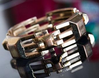 Gold Plated Linked Geometric Bracelet Heavy Vintage Hip Hop TV Fashion Celebrity Rapper Style Bold Statement Signed Stella & Dot Designer