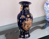 Large 24k Gold Vase Cobalt Blue Porcelain Amphora Scrollwork Accents Grecian Design Handmade Meduza Gorgona Greek Mythology Antique Rococo