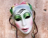Ceramic Venetian Mask Carnival Face Wall Hanging Display Pierrot Hand Painted Decor Theater Masquerade Clay Art Festival Halloween Prop
