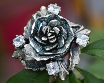 Sterling Silver Flower Ring, 4 White CZ Sones, Flower Sterling Ring, 925s Flower Handmade Flower Ring, 925 Silver Handmade Valentine Gift