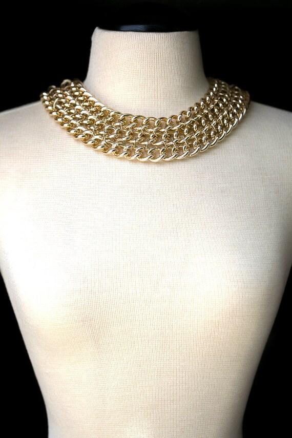 Colar Necklace Linked Chains Antique Gold Finish V