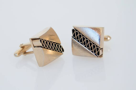 Large Square Cufflinks Gold Tone Vintage Classic French Style Etsy
