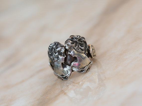 Aleks Jewelry Handcrafted Solid Sterling Silver wTextured Acanthus Scroll Accents Ornate Jewelry Handmade Gift for Her Cameo Ring