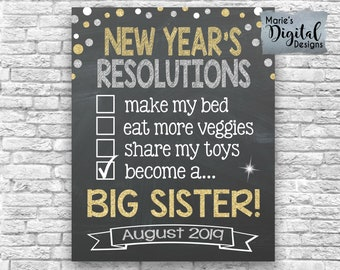 printable new years resolutions checklist big sister chalkboard pregnancy baby announcement sign photo prop poster card jpeg file