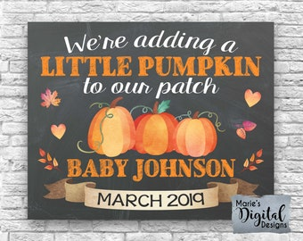 fa322ab36ff9c PRINTABLE We're Adding A Little Pumpkin To Our Patch - Fall Baby / Pregnancy  Announcement / Halloween / Sign / Photo Prop / Card / JPEG File