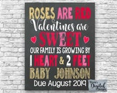 PRINTABLE Valentine 39 s Day Roses Are Red 1 Heart And 2 Feet Chalkboard Pregnancy Baby Announcement Photo Prop Card Sign Poster JPEG FILE
