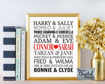 Valentines Beautiful Famous Couples Personalised  Print Wedding Gift