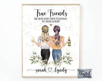Custom Best Friend Portrait   PRINTABLE Personalized BFF Birthday Gift   Besties Christmas Friendship Present   Digital Illustration