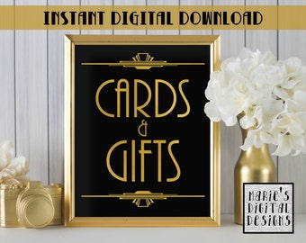 INSTANT DOWNLOAD - Printable Cards And Gifts Sign / Wedding Decor / Party Sign / Gold Black / Art Deco / Gatsby JPEG file 5x7 8x10