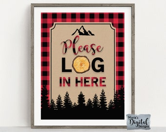 INSTANT DOWNLOAD   Please Log In Here   Printable Guest Book Birthday Party Sign   Red Buffalo Plaid Lumberjack Decor Table   JPEG Files