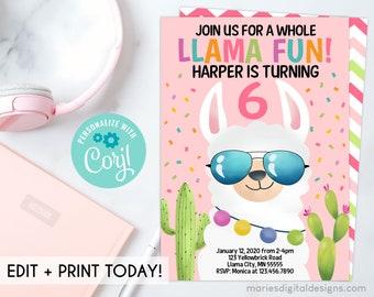 EDITABLE Printable Whole Llama Fun Birthday Invitation   INSTANT DOWNLOAD   Corjl Template   Confetti Cactus Fiesta   Girl Party Pink