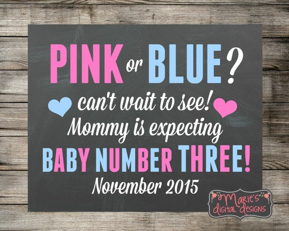 Pregnancy Chalkboard Pink or Blue Pregnancy Announcement Pregnancy Announcement
