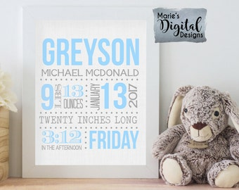 PRINTABLE - Birth Stats Wall Art / Nursery / Birth Announcement / Details / Newborn / Blue Gray / Personalized Baby Gift Keepsake JPEG file