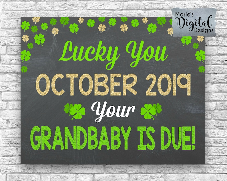 graphic relating to Lucky to Have a Dad Like You Printable titled PRINTABLE Privileged Your self Your Grandbaby Is Thanks / Chalkboard Grandparent St Patricks Working day Being pregnant Boy or girl Announcement Card Indication Poster JPEG History