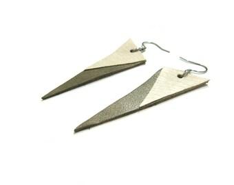 Leather earrings, triangle earrings, statement earrings, geometric earrings, tribal earrings