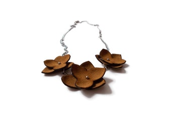 Brown flowers necklace, hippie necklace, leather flower necklace, boho necklace, hippie jewelry