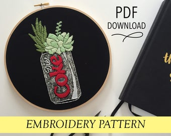 """Diet Coke Can with Succulents // Pop Culture Inspired // 8"""" Embroidery Hoopart PDF Pattern"""