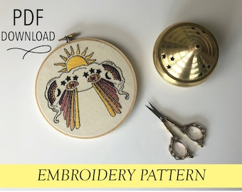 """Psyched Out Cloud // Trippy 70s Star Rainbow  //6"""" Embroidery Hoopart PDF Pattern"""