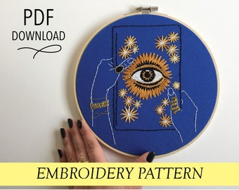 Evil Eye Book with Hands pattern Hand embroidery modern embroidery guide stitching tutorial diy embroidery patterns and how to hoop art