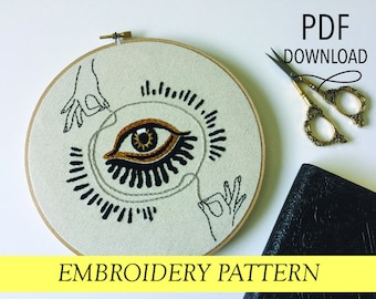 """Evil Eye with Hands and String // Psychic Gypsy Unraveling  // 8"""" Embroidery Hoopart PDF Pattern"""