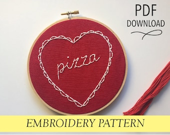 """I Love Pizza // Valentine's Day Hoop // 6"""" Embroidery Hoopart PDF Pattern"""