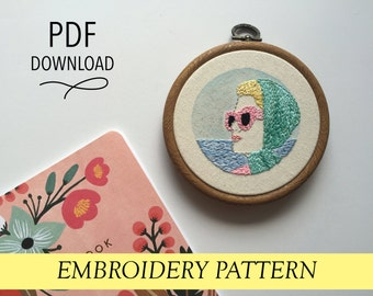 """Grace Kelly on Holiday // Retro Minimalist Pop Art with Watercolor// 4"""" Embroidery Hoopart PDF Pattern"""