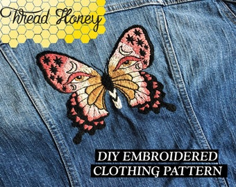 Mariposa Modern Embroidery Clothing Pattern // Butterfly DIY Up-Cycled Gypsy Clothing // Downloadable PDF Pattern