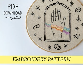 Rainbow hand pattern Hand embroidery modern embroidery guide stitching tutorial diy embroidery patterns and how to hoop art cosmos
